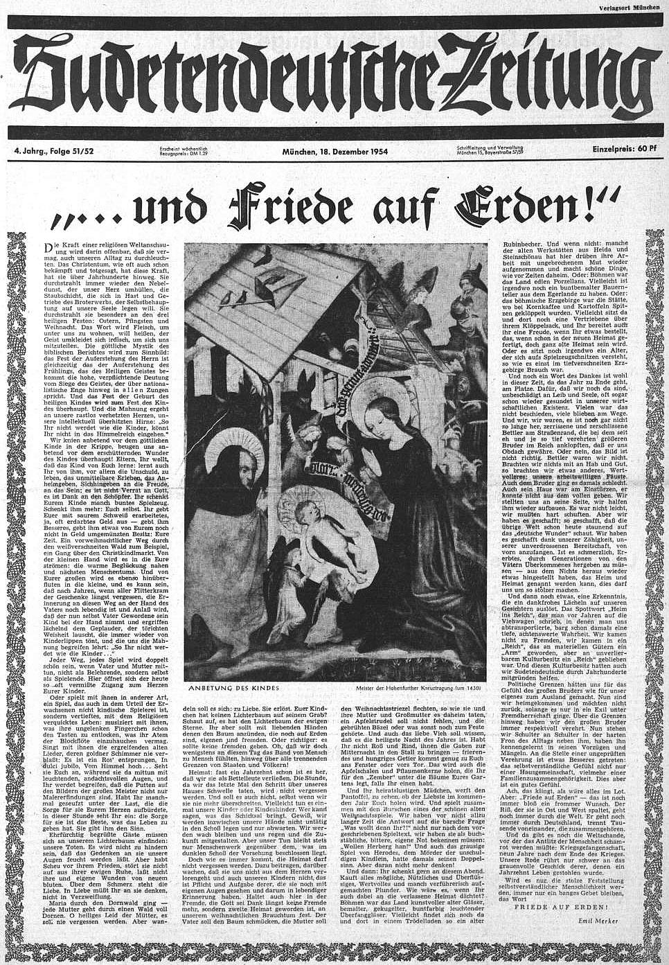 Titulní strana vánočního čísla Sudetendeutsche Zeitung s jeho textem a obrazem, který je jako dílo Mistra vyšebrodského označen ovšem mylně