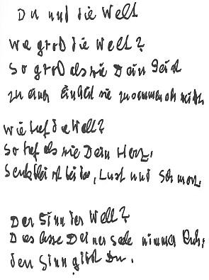 Rukopis básně z roku 1958, kdy už byl autor téměř zcela slepý