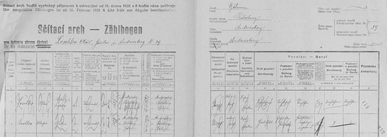 """Na stavení čp. 39 v Ondřejově, zvaném """"Loschker-Haus"""", bydlili v roce 1921 Alois Loschko (1867-1939) a jeho žena Aloisia (1877-1926)"""