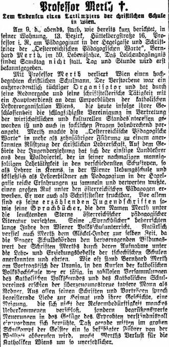 """Nekrolog ve vídeňském listu """"Reichspost"""""""