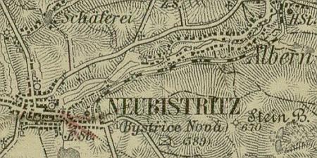 Ovčárna u Nové Bystřice na staré mapě