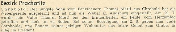 Jiná zpráva o smrti otcově zmiňuje i synovo vyučení na tkalcovského tovaryše a profesní začátky v Augsburgu