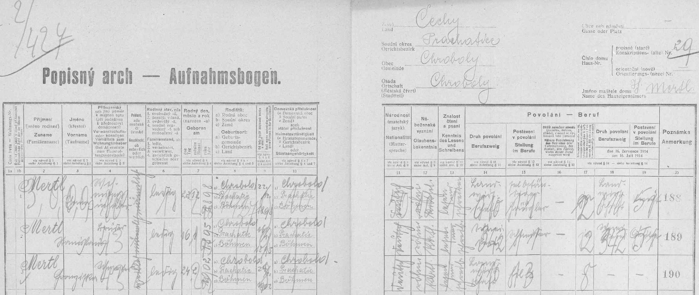 Na stavení čp. 29 bydlili v roce 1921 sourozenci Thomas (*1898), Stanislaus (*1895) a Franziska (*1902), všichni dosud svobodní