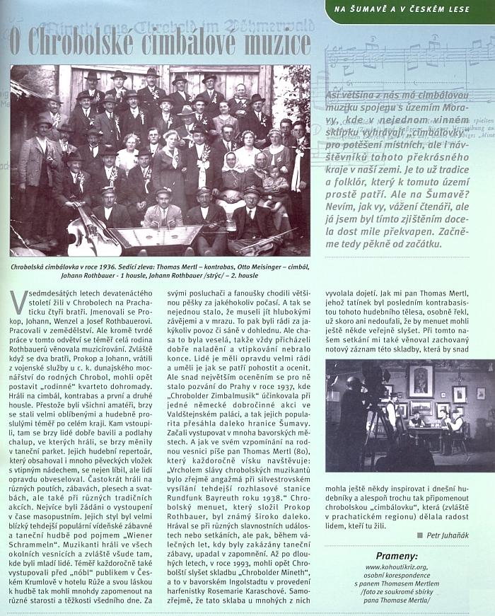 """Článek o chrobolské cimbálové muzice, který vycházel i z webových stran Kohoutího kříže, doplnil autor Petr Juhaňák i údaji z osobní korespondence s Thomasem Mertlem """"mladším"""""""