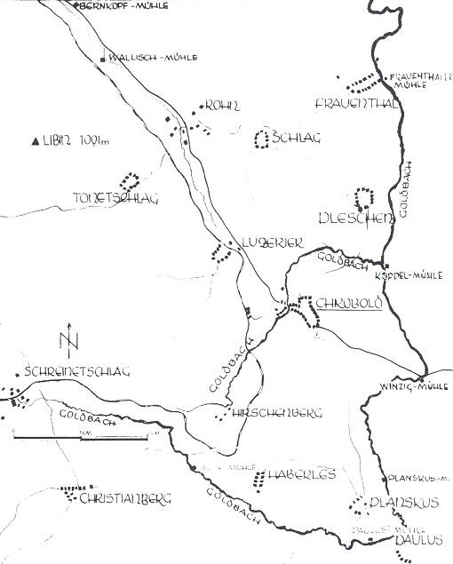 "Mapka okolí Chrobol se dvěma potoky téhož jména ""Goldbach"""