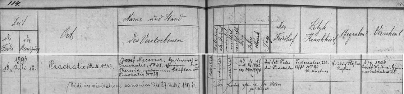 Záznam o jeho skonu v prachatické úmrtní matrice