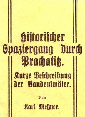 Obálka jeho knihy s popisem historických pamětihodností města Prachatice