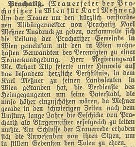 """Zpráva o smuteční slavnosti německé """"Prachatické obce"""" ve Vídni k uctění Messnerovy památky"""