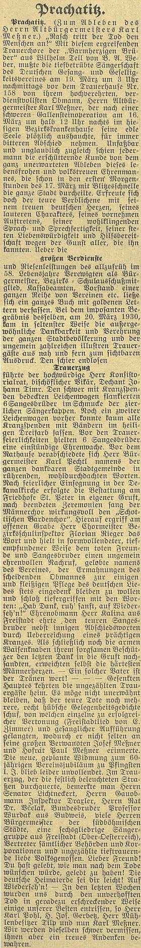 O významu Messnerově pro město Prachatice svědčí itento jeho obsáhlý nekrolog na stránkách budějovického německého listu