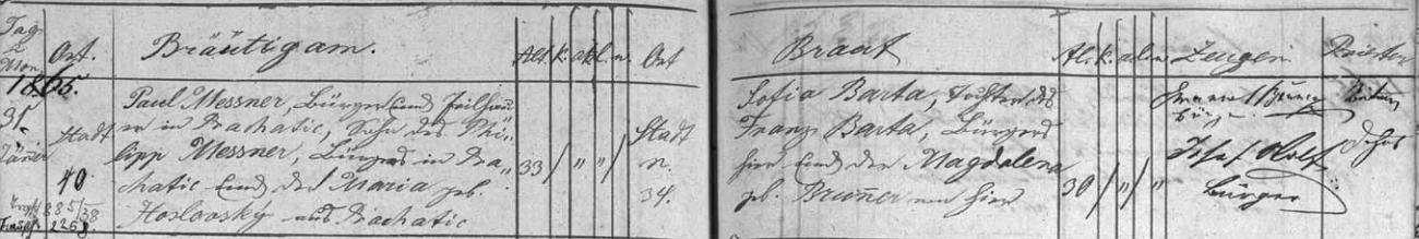 Záznam o svatbě jeho rodičů v prachatické oddací matrice