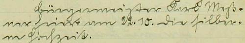 Záznam o jeho stříbrné svatbě, kterou slavil jako prachatický purkmistr 22. října 1926, v městské kronice