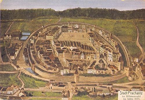 Prachatice v roce 1670 na kolorované pohlednici podle starého obrazu