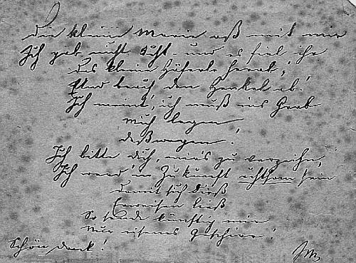 Vlastnoručně psaný dopis, kterým děkuje bratrovi za jídlo, které nuzně žijícímu spisovateli poslal