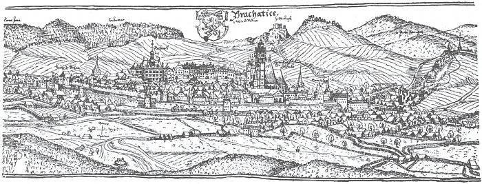 Veduta Prachatic od Jana Willenberga, perokresba z roku 1602