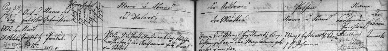 Záznam o narození otcově v prachatické křestní matrice