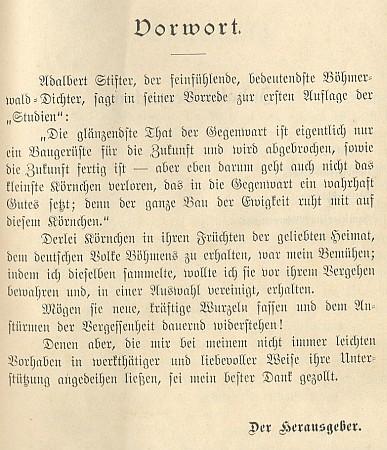 """Titulní list jím vydávaných vybraných spisů prastrýcových s věnováním Dr. Augustu Sauerovi a se """"stifterovskou"""" předmluvou, které byl rovněž autorem"""