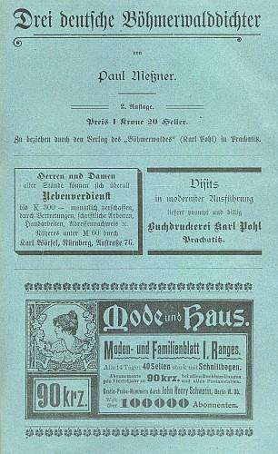 Inzerát na jeho knihu na obálce časopisu DerBöhmerwald (č. 9, 1905)
