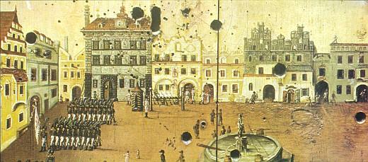 Terč prachatické střelecké společnosti, o které rovněž psal, zachycuje v olejomalbě Felixe Fabera z r. 1816 dobovou podobu náměstí