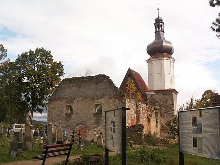 Postupně opravovaný kostel sv. Mikuláše v Šitboři na snímku z října 2019