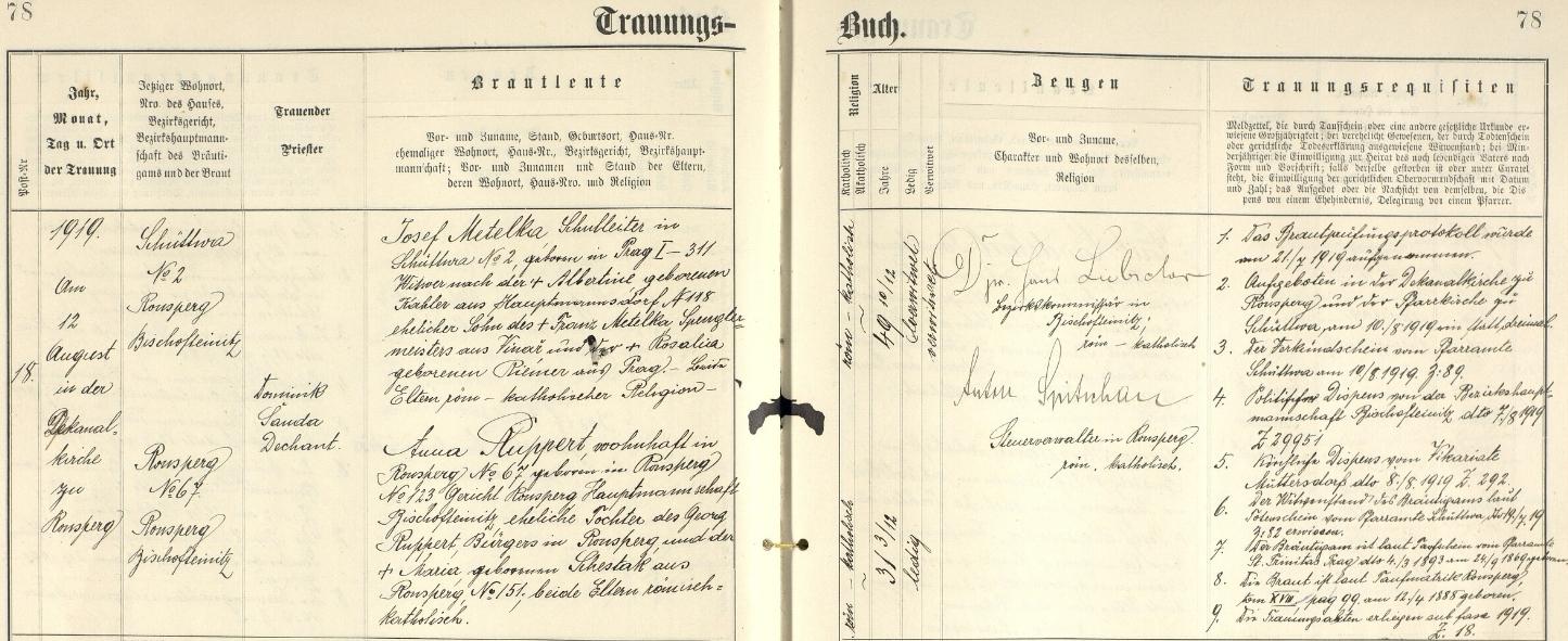 Záznam o jeho druhé svatbě v ronšperské oddací matrice