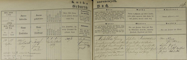 Záznam o jeho narození v křestní matrice pro Prahu I. (farní kostel Nejsvětější Trojice ve Spálené ulici v Praze)
