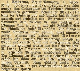 Zpráva o založení místní skupiny Deutscher Böhmerwaldbund v Šitboři roku 1909, sním jako jednatelem