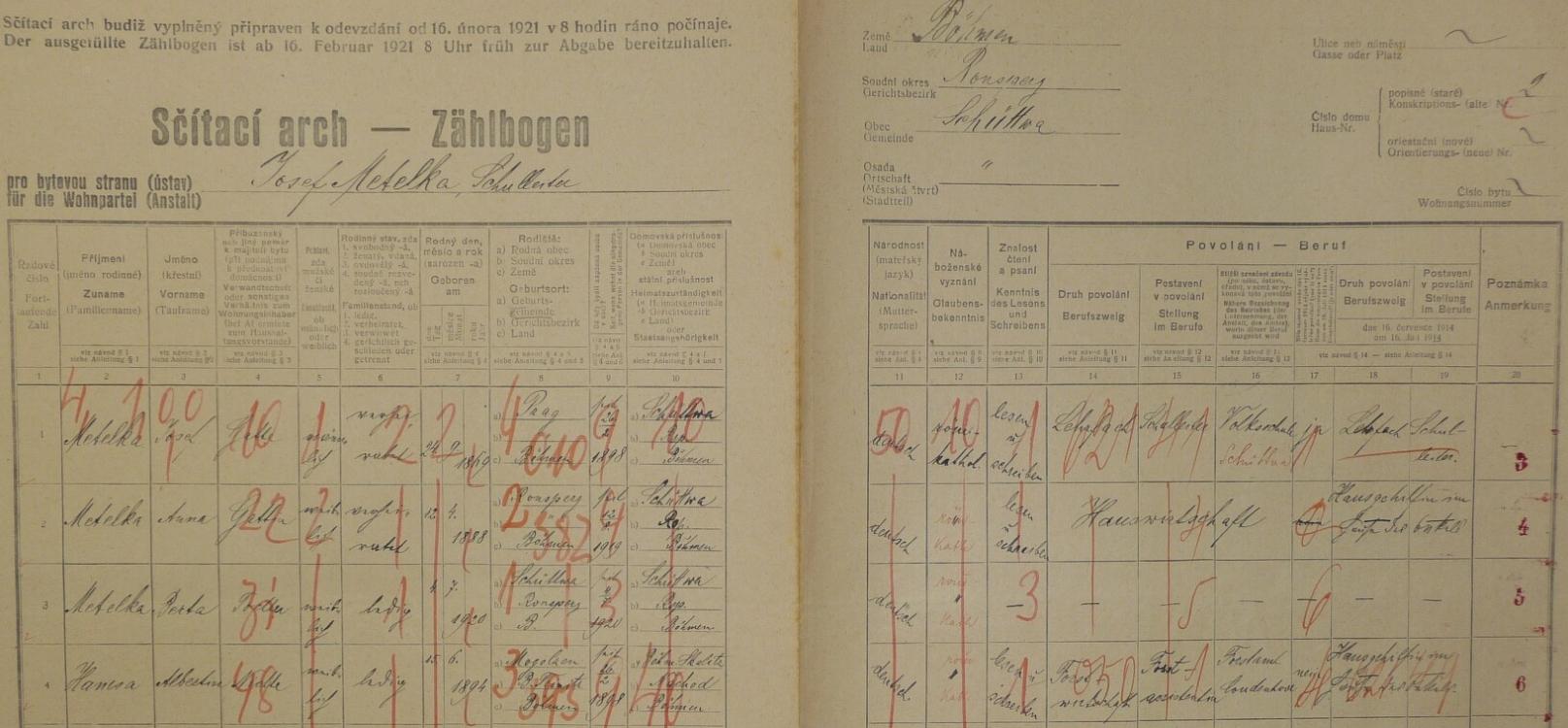 Arch sčítání lidu z roku 1921 pro dům čp. 2 v Šiboři s rodinou pana řídícího učitele Metelky