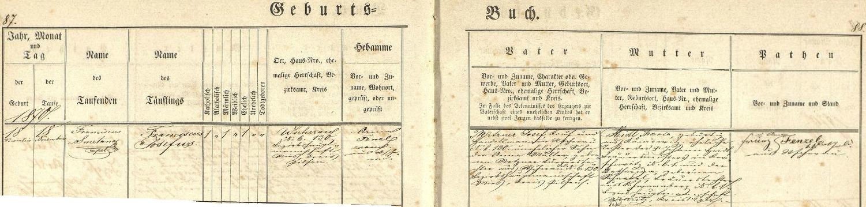 Záznam o jeho narození v křestní matrice farní obce Všeruby u Plzně, z něhož vysvítá, že dostal vlastně při křtu jméno Franciscus Josephus Metzner, tj. Franz Josef Metzner