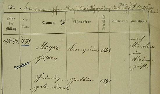 Zde je uveden nikoli jako obchodník, nýbrž jako bankéř (Banquier) a jako jeho pražské bydliště je uváděna vedle Smíchova (1893) také adresa Praha II. Nové Mlýny (1900)