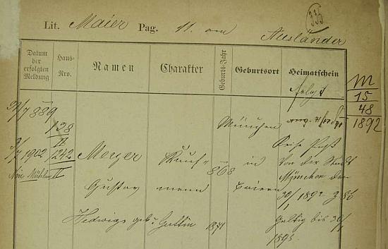Jeho pražská policejní přihláška ho vede jako cizince s cestovním pasem z Mnichova, platným do 30. ledna roku 1895