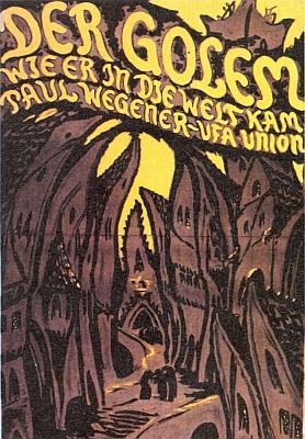 """Plakát k proslulému němému filmu (1920) podle jeho románu """"Golem"""""""