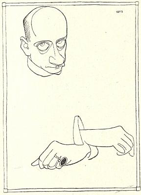 V karikatuře norského malíře a grafika Olafa Leonharda Gulbranssona (1873-1958)