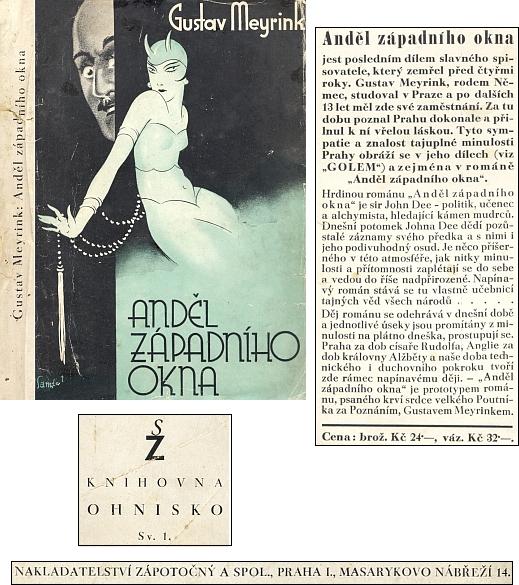 Obálka (1937) jeho posledního románu v pražském nakladatelství Zápotočný...