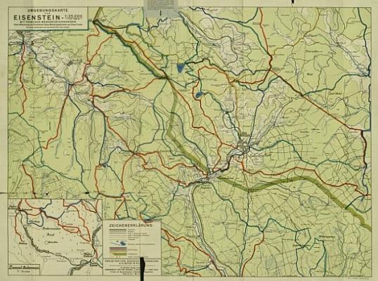 Mapa okolí Železné Rudy, která vznikla za jeho spolupráce, jak je patrno z jejího záhlaví  (klikněte na náhled pro digitalizovanou mapu)