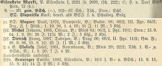 Tady vidíme Johanna Michala na seznamu železnorudských učitelů vedle Seppa Skalitzkyho, psaného tu ještě jako Josef Skalicky (viz i foto zde)