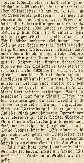 Nepodepsaný nekrolog na stránkách krajanského měsíčníku, jehož autorem byl zřejmě Adolf Webinger