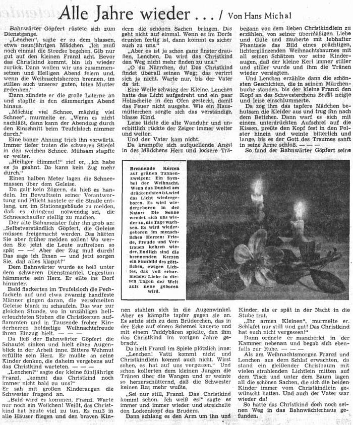 Jeho vánoční povídka vedle dvou dalších od Josefa Schneidera a Otfrieda Preusslera zdobila v roce 1952 sváteční číslo ústředního listu vyhnaných krajanů