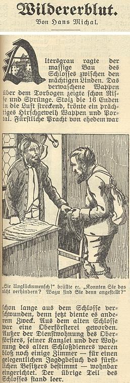 """Začátek jeho povídky """"Pytlácká krev"""" v budějovickém kalendáři nakladatelství """"Moldavia"""" na rok 1929"""