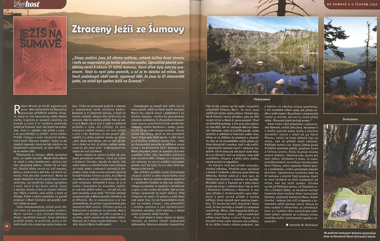 Obsah románu Ježíš na Šumavě ze stránek Cyklistův průvodce Šumavou, kde se najdou i četné odkazy na Kohoutí kříž