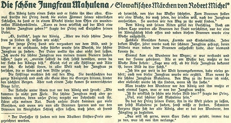 """Začátek jeho zpracování slovenské pohádky """"O krásné panně Mahuleně"""" s připomínkou, že její autor byl právě poctěn Cenou Adalberta Stiftera"""