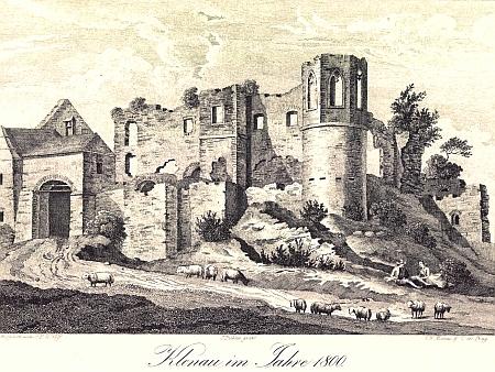 Hrad Klenová v roce 1800...