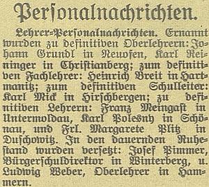 Takto zaznamenal českobudějovický německý list jeho jmenování do Jeleních Vrchů