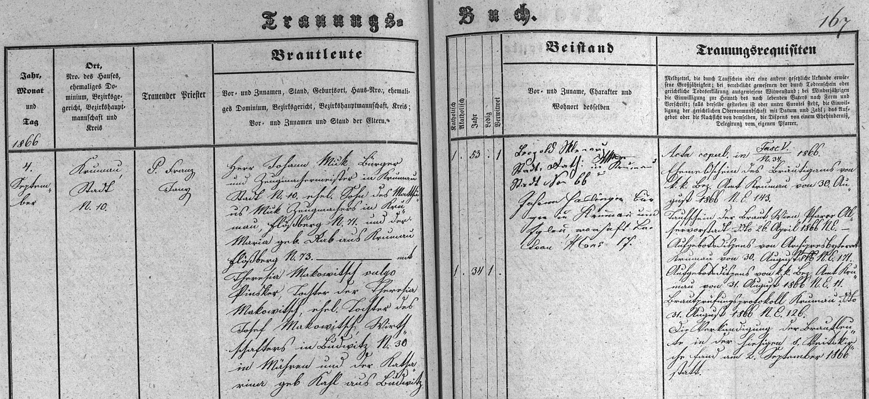 Záznam českokrumlovské oddací matriky o zdejší svatbě jeho prarodičů