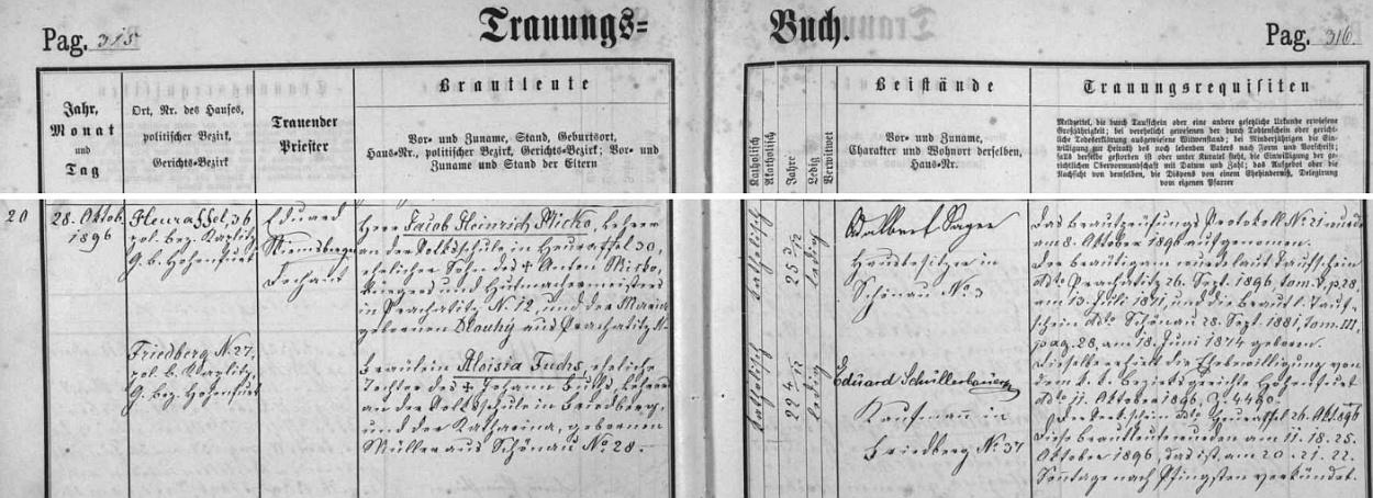 Záznam odací matriky farní obce Frymburk o jeho zdejší svatbě