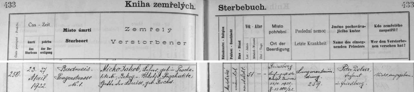 Jediný německý zápis na této dvojstranně českobudějovické knihy zemřelých je ten jeho