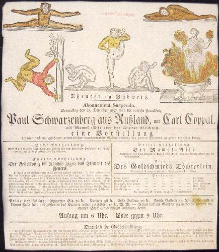 """Ručně kolorovaný plakát budějovického divadla, zvoucí v listopadu roku 1837 na představení """"ruského krále ohně"""" Paula Schwarzenberga a Carla Coppala (Karla Kopala?) coby opice, je dnes součástí sbírek českobudějovického okresního archivu"""