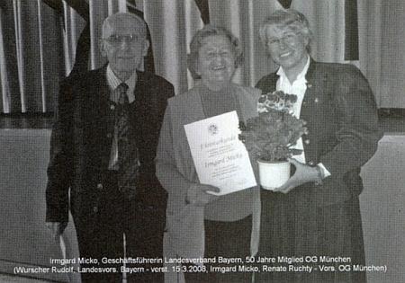 Roku 2008 oslavila 50 let svého členství v Heimatgruppe München bavorského zemského sdružení Böhmerwaldbundu