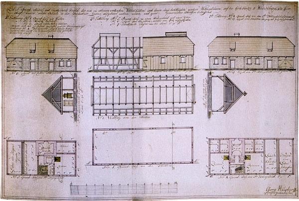 Projekt pro tři stavby v areálu vitriolové huti na panství Tachov v revíru Tři Sekery od tesařského mistra Georga Heuplera asi z počátku 19. století