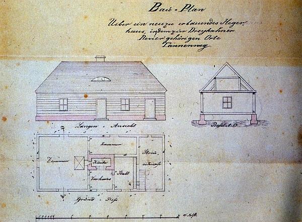 Projekt ke stavbě panské hájovny při osadě Mlýneček (Tannenweg) v revíru Tři Sekery (zde Dreyhakner Revier), o němž je řeč v Mickově textu