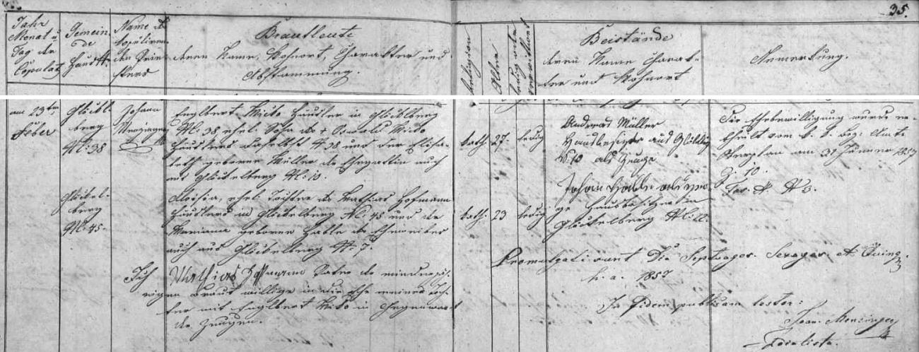 """Záznam v glöckelberské oddací matrice o zdejší svatbě jeho rodičů dne 23. února roku 1857: sedmadvacetiletý ženich Englbert Micko, chalupník na čp. 38, byl synem Oswalda Micko z téhož stavení a jeho ženy Elisabeth, roz. Müllnerové, třiadvacetiletá nevěsta Aloisia byla pak dcerou Mathiase Hofmanna, chalupníka z čp. 45, a Marianny, roz. Hableové z čp. 7, všichni odtud z Glöckelbergu - jejich jména a data provází pak svolení otce """"nezletilé"""" nevěsty k jejímu sňatku"""